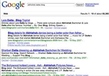 Lara Datta + Abhishek Bacchan + google = AbhishekDatta